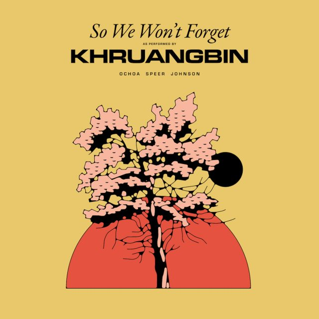 The Cover of So We Won't Forget with a drawing of a cherry tree in full blossom in fornt of a red setting sun vaguely reminiscent of the Japanese flag