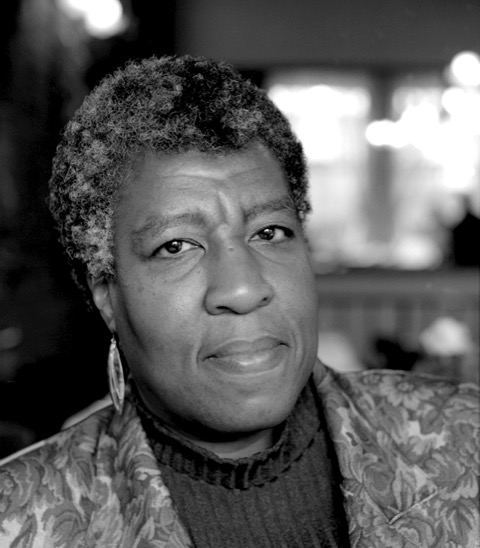 A black and white photo of Octavia Butler